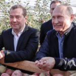 В.В. Путин и Д.А. Медведев побывали в гостях у  ставропольских садоводов и побеседовали за обедом